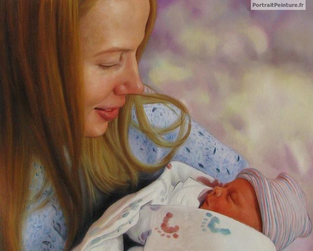 peinture-portrait-personnalisé-bebe-famille-tableau-enfant