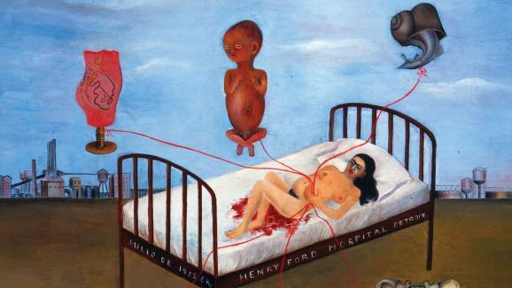 Peinture de Frida Kahlo, Henry Ford Hospital ou Le Lit Volant