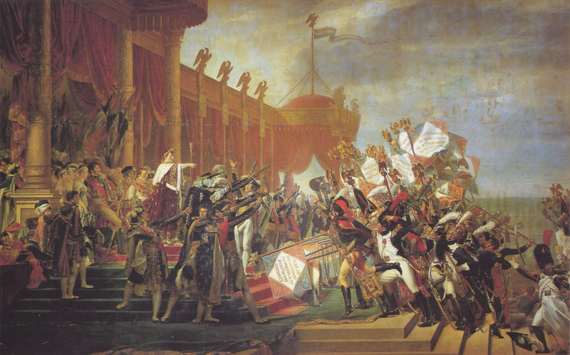 Peinture de Jacques Louis David : La Distribution des Aigles (1810)