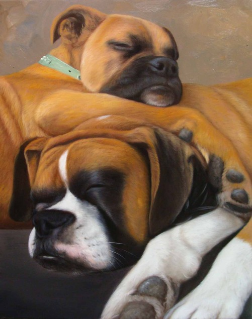portrait-peinture-huile-d-apres-photo-chien-allonge