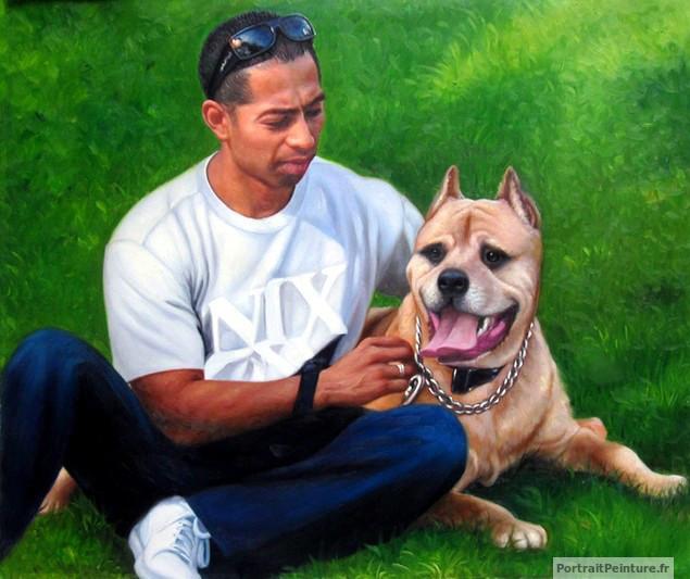 portrait-peinture-homme-chien