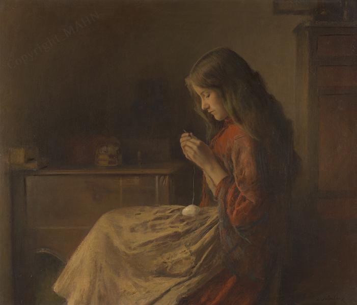 Léon delachaux, peinture à l'huile, Jeune Fille Crochetant