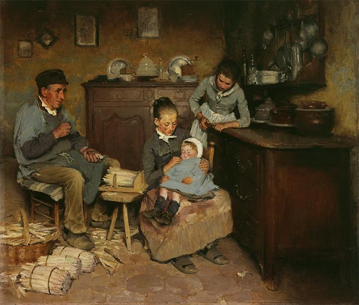 Léon delachaux, peinture de 1886, intérieur de cuisine