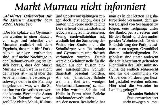 Leserbrief Murnauer Tagblatt vom 24.12.2014