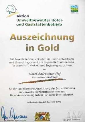 Aktion Umweltbewußter Hotel- und Gaststättenbetrieb: Auszeichnung in Gold