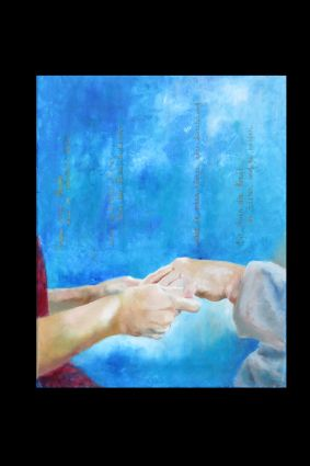 behutsam.  Ölbild von Gabriele Koenigs (2020). 40 cm x 50 cm. Als Originalbild erhältlich. Nach einem Foto von Magdalena Krause, mit freundlicher Erlaubnis der Fotografin