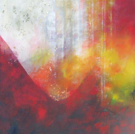Wie überströmst du mich mit Glück. Abstraktes Gemälde in Mischtechnik auf Leinwand von Gabriele Koenigs (2019), 100 cm x 100 cm. Als Original erhältlich