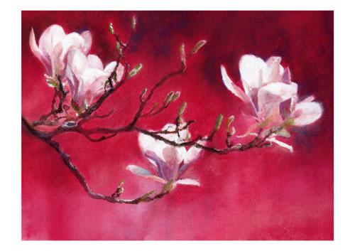 Majestätische Blütenpracht. Aquarell von Gabriele Koenigs.                 Erhältlich als Doppelkarte mit Briefumschlag und als Original-Ölbild auf Leinwand