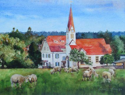 Dem Himmel so nah (Kirche in Aichelberg). Gemälde von Gabriele Koenigs. Privatbesitz