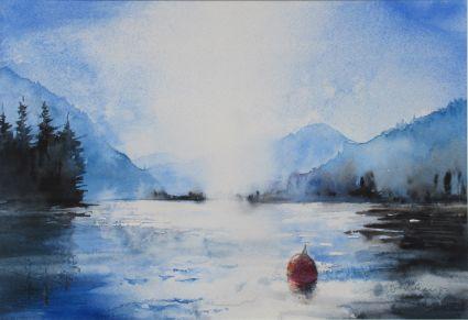 Die Ruhe bewahren. Aquarell von Gabriele Koenigs (2019). Im Passepartout für Bilderrahmengröße 50 cm x 40 cm. Als Original erhältlich