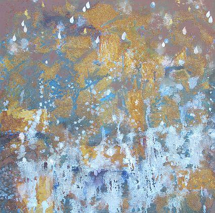 Steter Tropfen höhlt den Stein. Dieses abstrakte Bild auf Leinwand (50 cm x 50 cm)  ist gerade im Entstehen. Ich zeige es heute, obwohl ich nicht sicher bin, ob es schon fertig ist. Auf Rückmeldungen bin ich gespannt.
