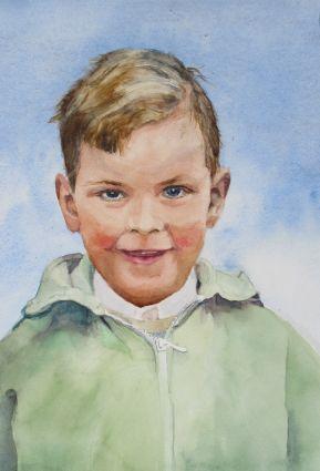 Aquarellportrait von Gabriele Koenigs (2021). Im Passepartout für Bilderrahmengröße 40 cm x 50 cm. Auftragsarbeit. Privatbesitz