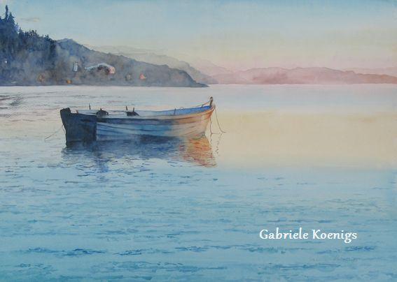 Morning has broken. Aquarell von Gabriele Koenigs. Als Originalbild und als Kunstdruck erhältlich