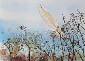 federleicht. Aquarell von Gabriele Koenigs (2013). Als Originalbild und als Doppelkarte erhältlich.