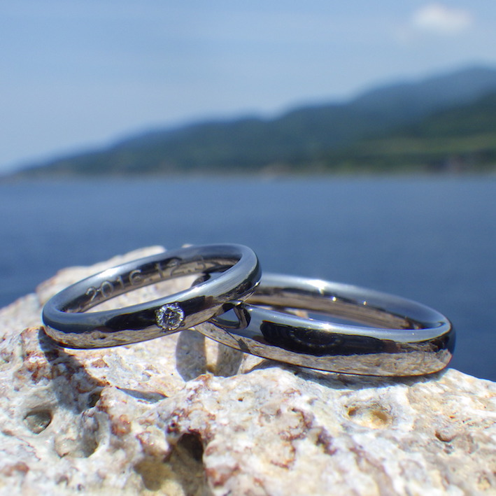 Eternal classic Tantalum with diamond wedding rings TOKYO