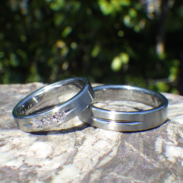 Beautiful matching of Hafnium and diamond marriage rings TOKYO