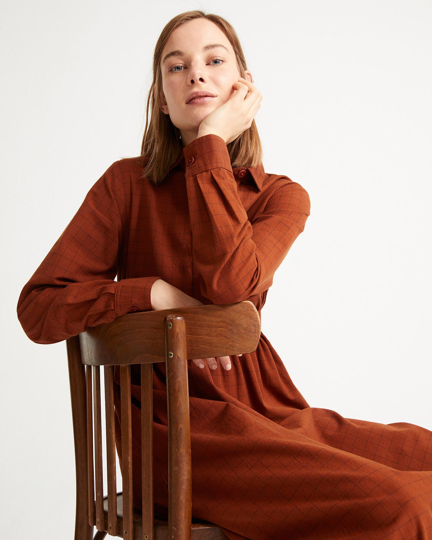 Clay Red Checks Nara Dress