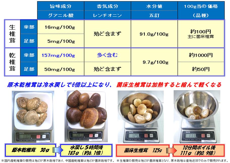 生椎茸と乾椎茸の違い