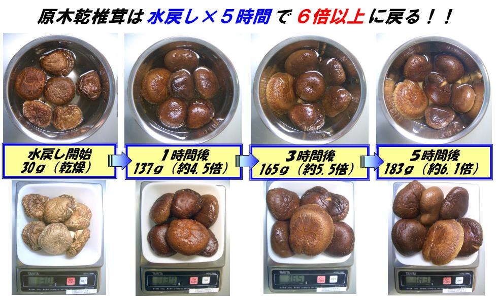 ※乾椎茸の厚みや大きさにより違いがあります。
