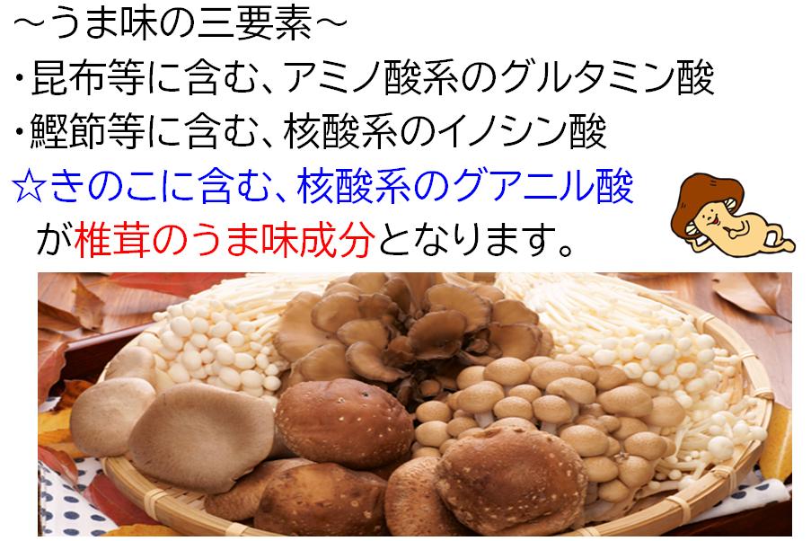乾椎茸のうま味成分と相乗効果について