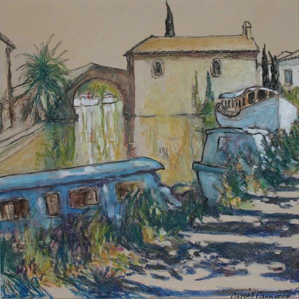69- Le Somail, chemin de hallage, Technique mixte (fusain, pastel, huile), format 43 cm x 43 cm, prix : 280 €