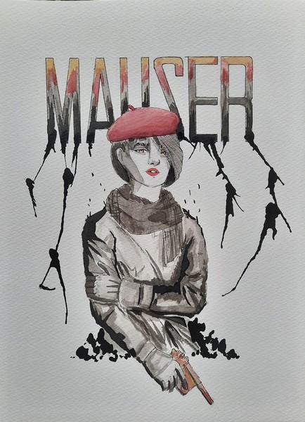 MAUSER : aquarelle & encre de chine sur papier 23 x 31 300 g - 30 €