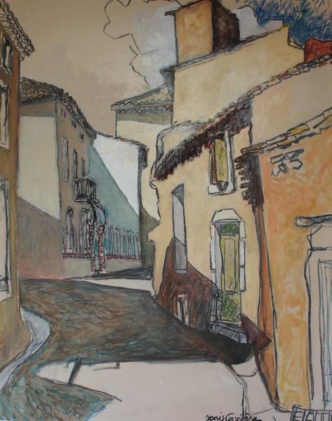 59- Villespassans, la rue de la Victoire, Technique mixte (fusain, pastel, huile), format 73 cm x 92 cm, prix : 980 €