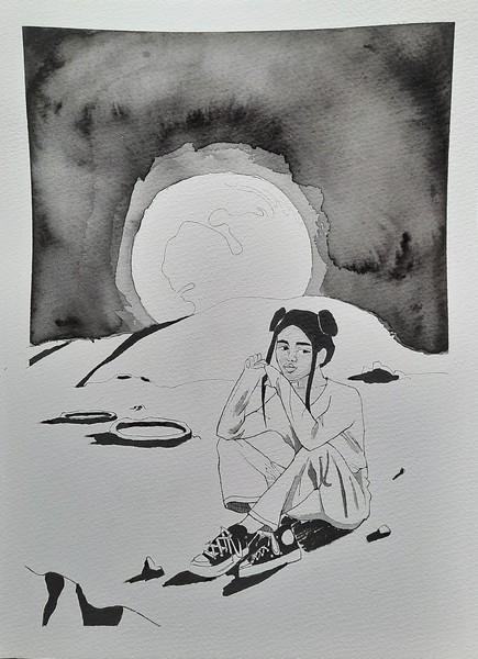 UNEARTH : aquarelle & encre de chine sur papier 23 x 31 300 g - 30 €