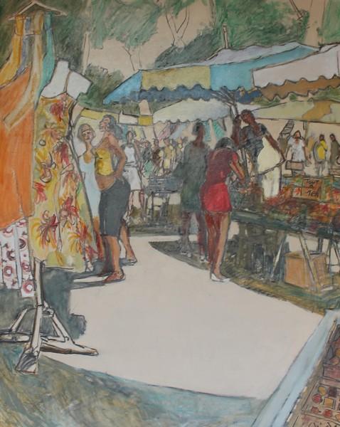 60- Narbonne, marché des Barques 2, Technique mixte (fusain, pastel, huile), format 73 cm x 92 cm, prix : 980 €