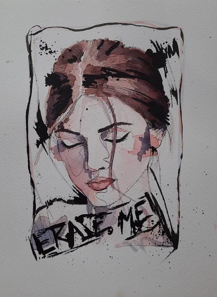 ERASE ME : aquarelle & encre de chine sur papier 23 x 31 300 g - 60 €