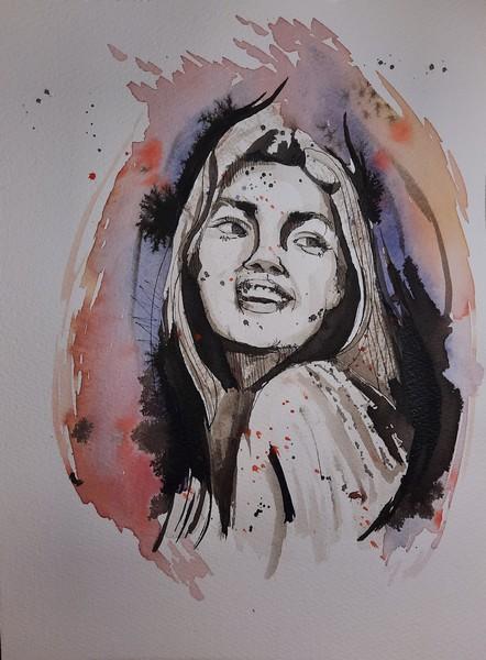TRIVIA : aquarelle & encre de chine sur papier 23 x 31 300 g - 30 €