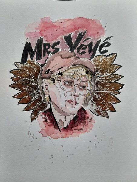 MRS YEYE : aquarelle, encre de chine & finition effet miroir d'or sur papier 23 x 31 300 g - 60 €