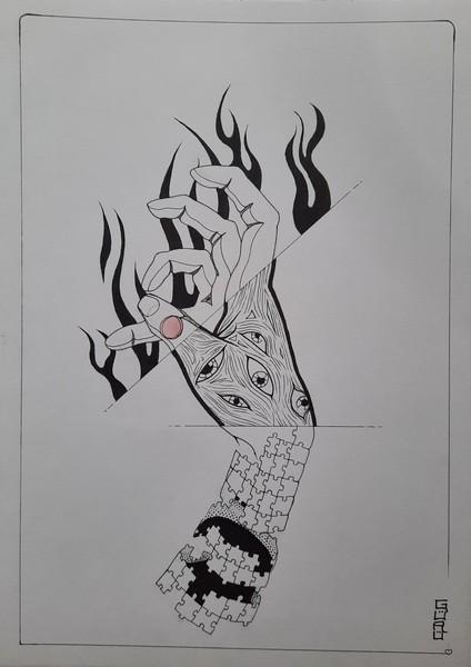 THE HAND : aquarelle & liner sur papier 21 x 27 200 g - 20 €