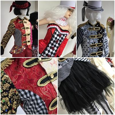 Die Verkleidungskiste Schaufenster Collage Karneval Männer Frauen Kleid Clown bunt Perücken Schminke Accessoires Sortiment
