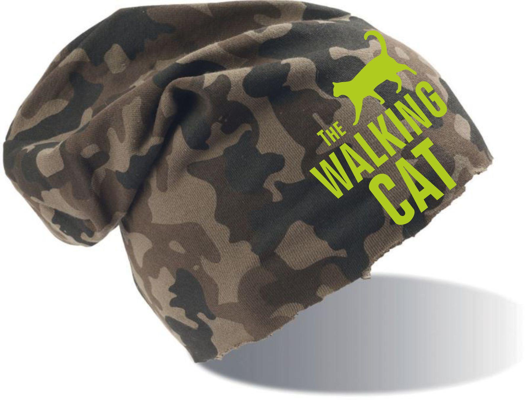 """Beanie camouflage mit Motiv """"The Walking Cat"""""""