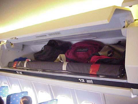 Geöffnete Gepäckfachklappe des vertrauten Designs/Courtesy: American Airlines?