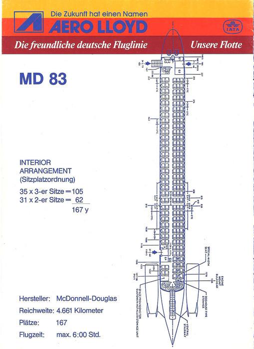 167 Passagieren bot jede MD-83 Platz/Courtesy: Aero Lloyd