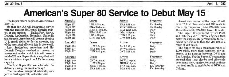Dieser Artikel aus dem Archiv von American Airlines informierte über die geplante Einführung der Super 80/Courtesy: American Airlines