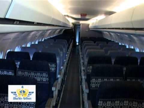 Kabine der ersten MD-83 der BlueSky Airlines. Anscheinend wird das Design der Alaska Airlines weiterverwendet...
