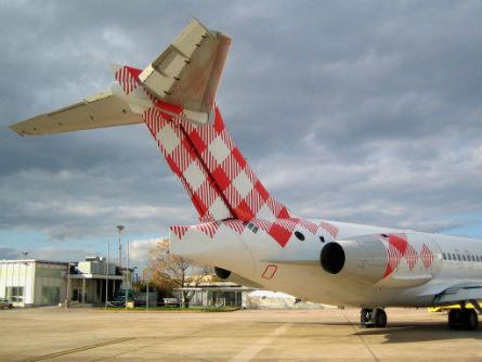 Leitwerk der ersten Boeing 717 (EC-LPM)Courtesy: Volotea