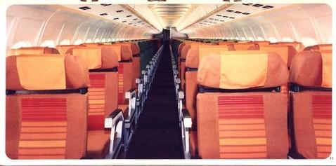 Werbefoto mit alten Gepäckfachklappen, möglicherweise die Kabine einer MD-80 von Swissair oder Austrian?/Courtesy: McDonnell Douglas