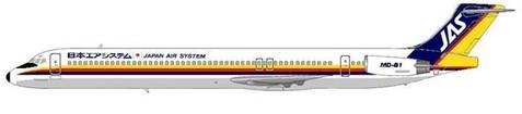 """JAS setzten MD-81 mit rundem Heckkonus und """"Beaver-tail"""" ein/Courtesy: MD-80.com"""
