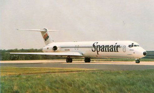 Postkarte mit einer MD-83 der Spanair
