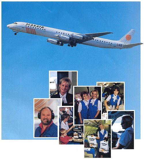 Scanair-Werbung mit DC-8 und A300-Kabine/Courtesy: Scanair