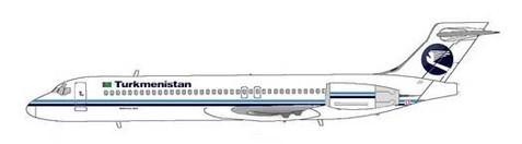 Turkmenistan Airlines Boeing 717 in klassischen Farben/Courtesy: MD-80.com