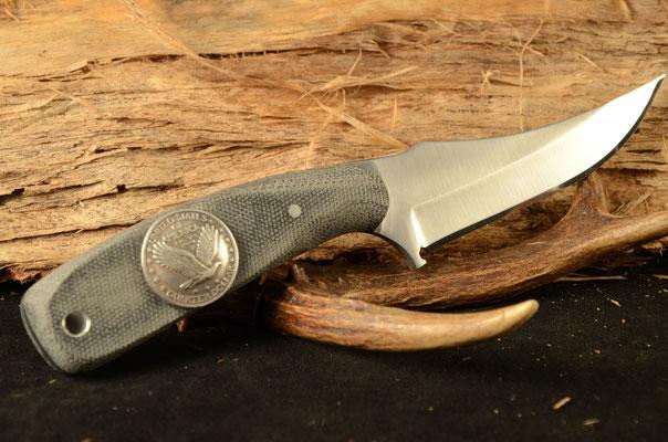 """#10 Miniature Nolen Hunter.  Blade length 3 1/4"""" Overall 7 1/4"""". Made with D-2.  Black canvas macarta handle.  Maker Steve Nolen  $175"""