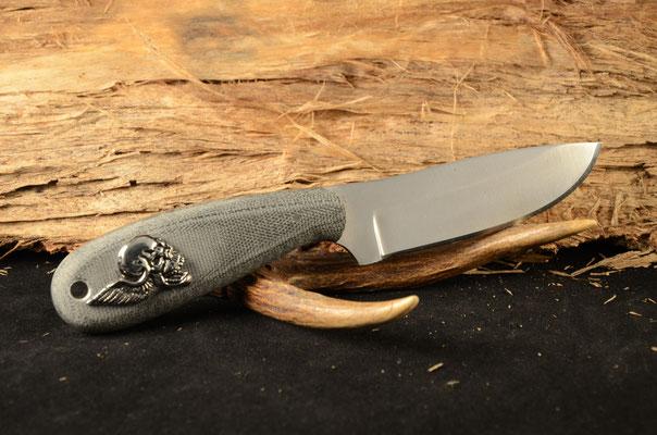 "#5 Full tang drop point.  Blade length 3 3/8"" Overall 7 1/4"" Made with D2.  Black canvas macarta handle.  Maker Steve Nolen  $175"