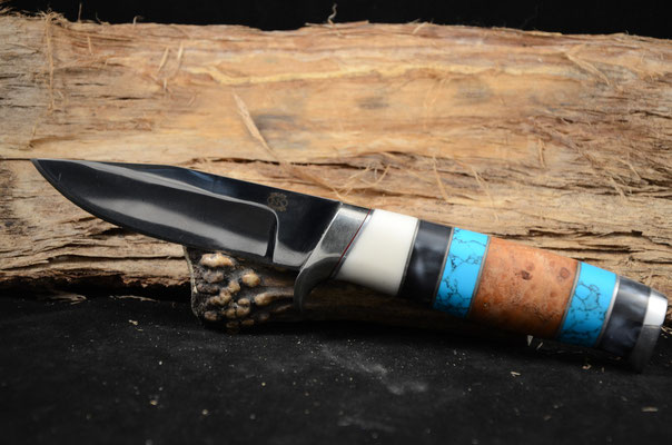 """#40 Clip Point.  Blade length 4 3/8"""" Overall 9 1/4"""" 440c steel. Blade length 4 3/8"""" Overall 9 1/4"""" 440c steel.  Handle birdseye maple, turquoise, black pearl and white corina.  Aluminum guard.  Marker RD Nolen $375"""