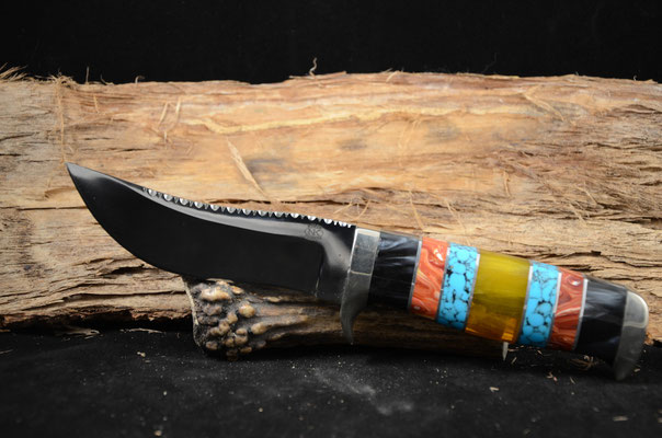 """#42  Trailing Point.  Blade length 4 3/8"""" Overall 9 1/4"""" 440c steel.  Handle amber, turquoise, red coral, black pearl.  Nickel silver guard.  Maker RD Nolen  $450"""