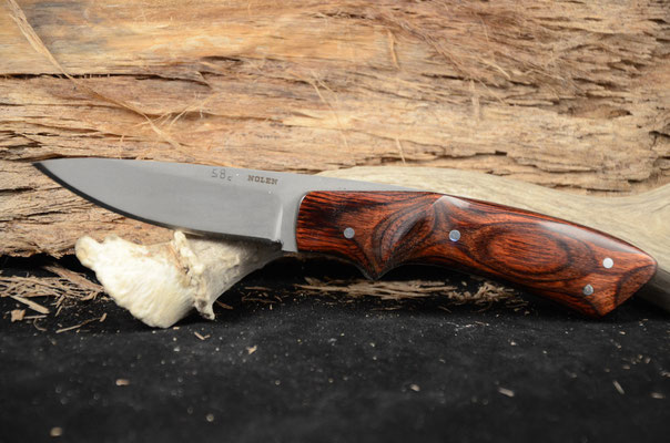 """#68 Full tang Nolen Caper.  Blade length 3 1/4"""" Overall 7 3/4"""" 440c steel.  Handle rosewood macarta with bead blast finish.  Maker RD Nolen  $200"""
